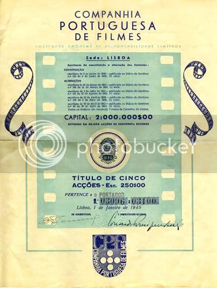 Título de 5 acções da Companhia Portuguesa de Filmes, de 1945.