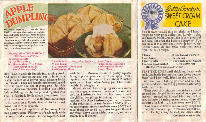 Series 3 - Vintage Betty Crocker Recipe Sheet ...