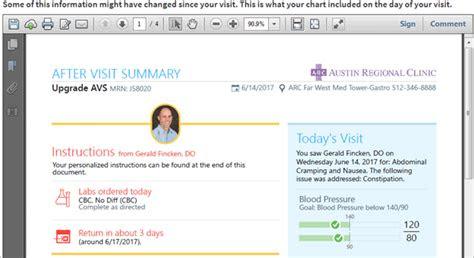 visit summary austin regional clinic