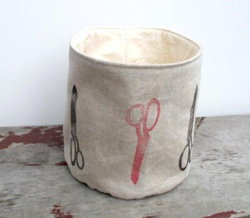 linen scissor bucket
