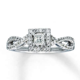 Kay Jewelers Halo Twisted Band Princess Cut Engagement