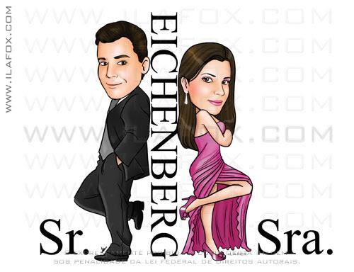 Caricatura, casal, sr e sra smith, caricatura para casais, Einchenberg, casalzinho Jaqueline e Maiko, by ila fox