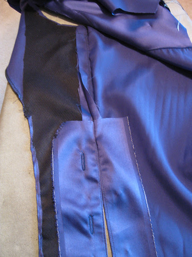 Blue silk blouse hidden placket