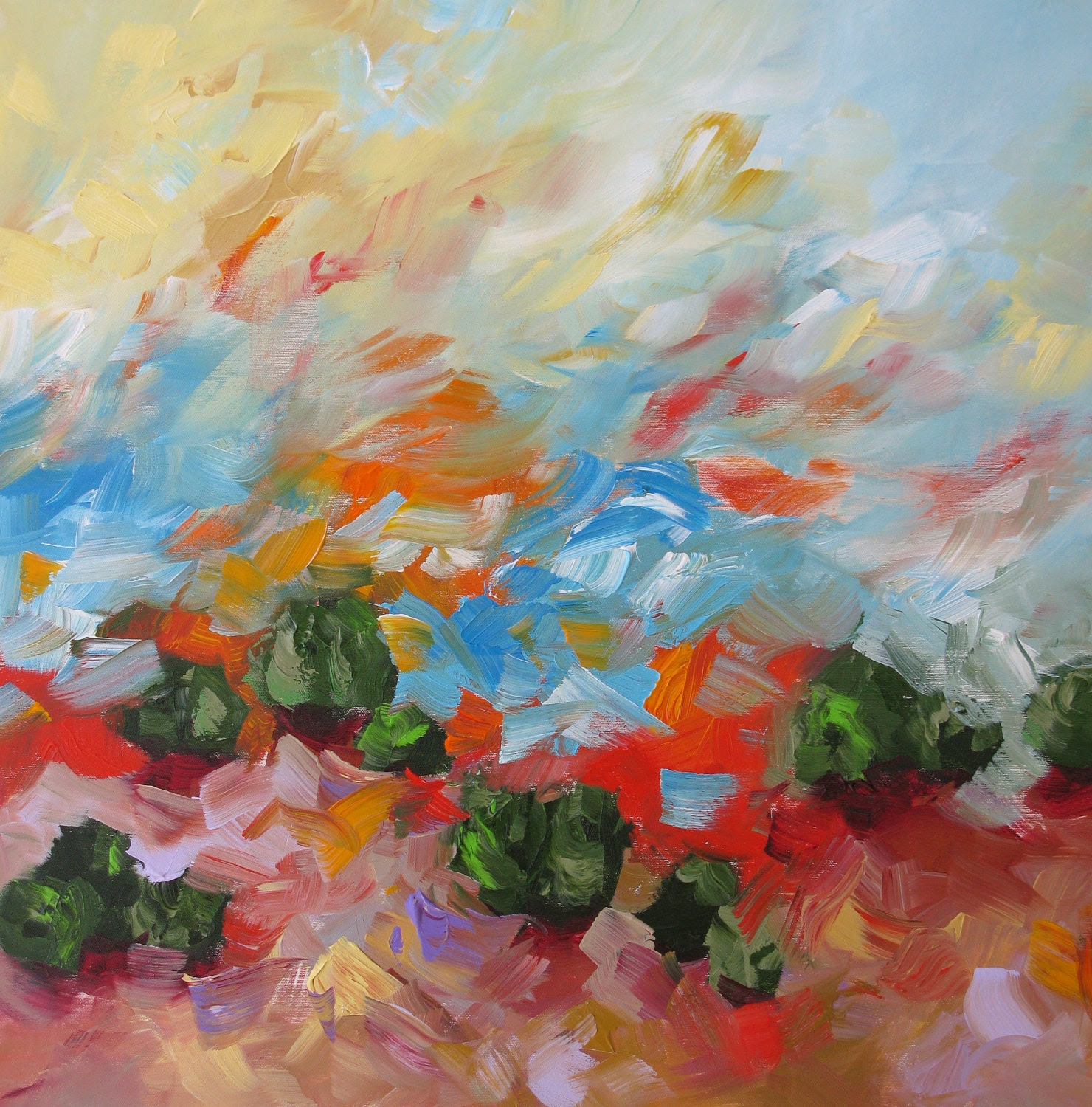PRINT Of Abstract Landscape Acrylic Painting Dancing Sunrise by Linda Monfort