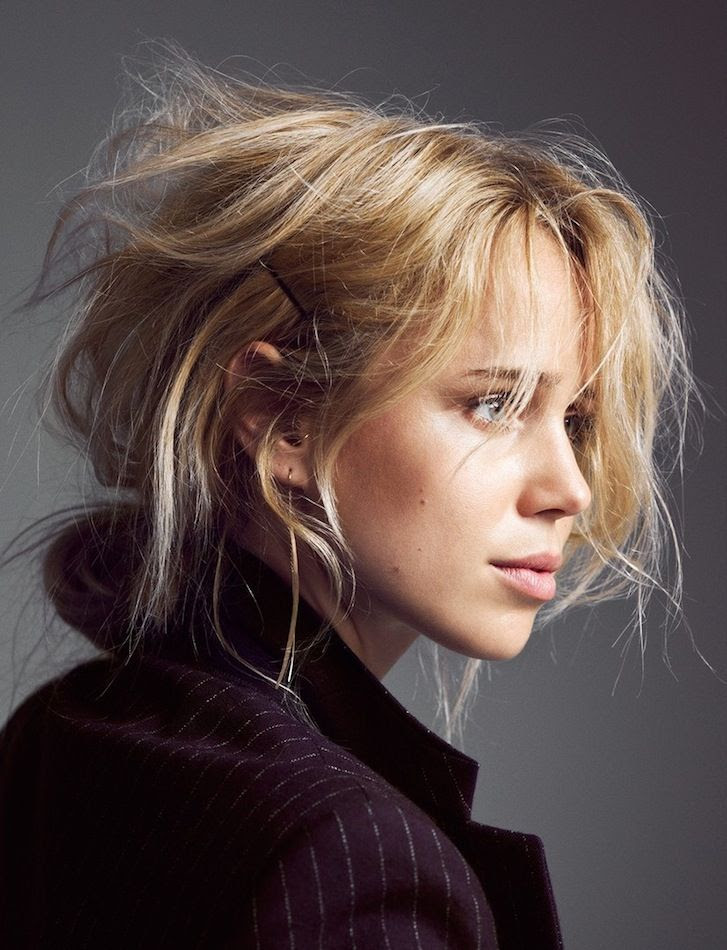 Le Fashion Blog Hair Inspiration Elin Kling Textured Wavy Low Bun Messy Up Do Pinstripe Blazer Beauty Via Cover Magazine