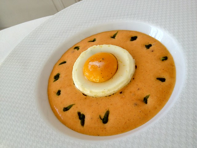 Restaurant Gabriel, Bordeaux -  Chorizo and Asparagus Cream with Egg