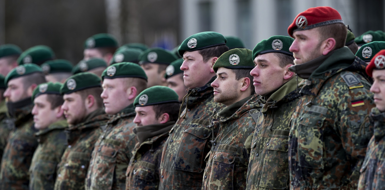 German soldiers take part in a NATO welcome ceremony at the Rukla military base in Vilnius, Lithuania, Feb. 7, 2017. T (AP/Mindaugas Kulbis)