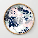 Melia - Abstract Minimal Painting Acrylic Watercolor Nursery Mint Navy Pink Wall Clock by Charlottewinter - Natural - White
