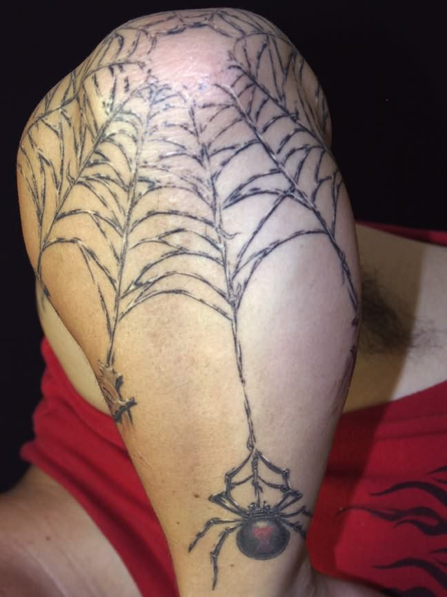 Beautiful Spider Web Tattoo On Elbow