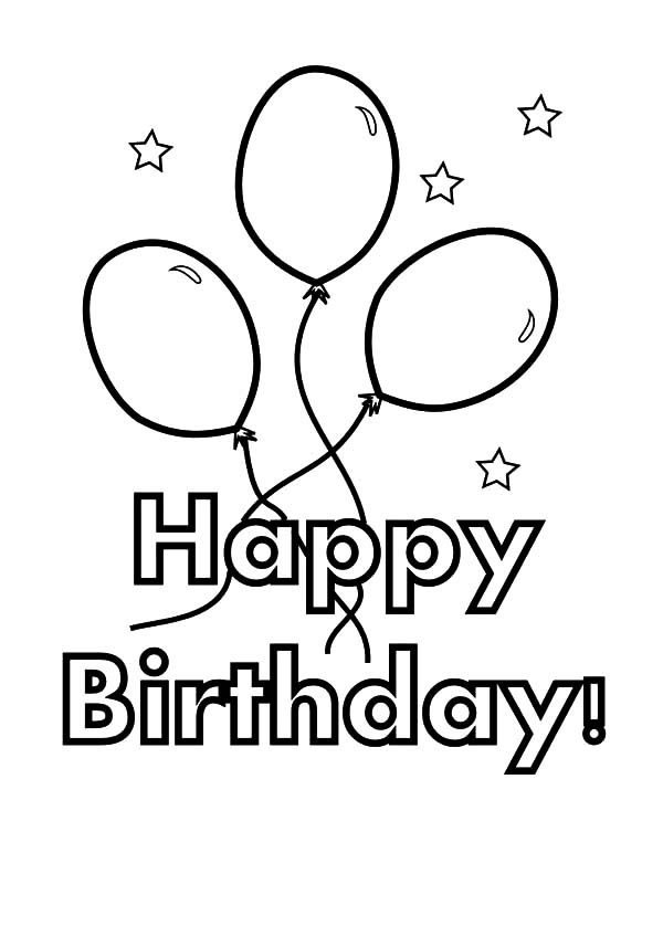 Balloons Tied to Birthday Present Coloring Pages | Best ...