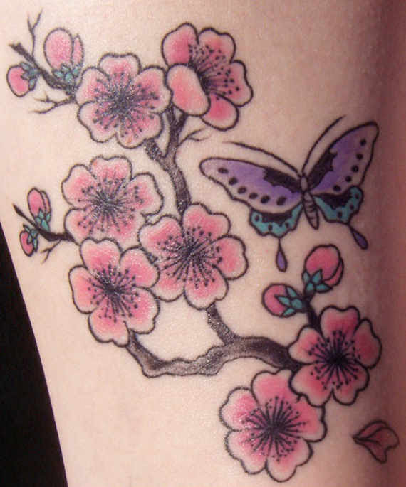 Cool Butterfly And Cherry Blossom Tattoo