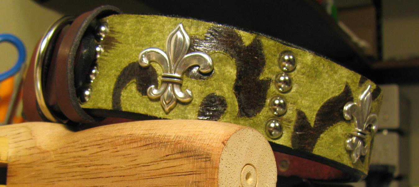 CHARITY-- Fleur De Lis Leather Dog Collar and Matching Leash