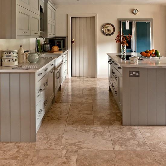 Neutral kitchen with travertine floor tiles | Kitchen ...