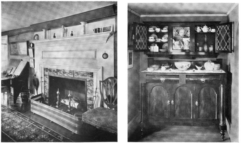 Plate XV.—Fireplace with Scriptural Tiles, Pickering House; The Old Pickering Sideboard.