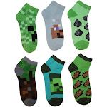 Boys' Minecraft 5pk + 1 Bonus Pack Socks - M/L