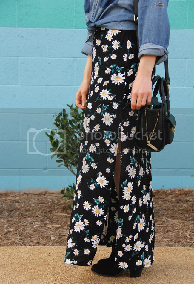 LA fashion blogger The Key To Chic wears an Xhilaration shadow pocket chambray shirt, Forever 21 flower child M-slit maxi skirt, and Rag & Bone Harrow boots