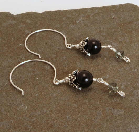 Swarovski Pearl and Crystal Earrings in Black by HyperspaceHippo