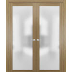 "Modern Solid French Double Doors with Handles | Planum 2102 Honey Ash | Single Regural Panel Frame Trims | Bathroom Bedroom Sturdy Doors 60"" x 84"""