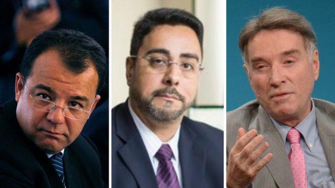 Sérgio Cabral (à esq), Marclo Bretas (centro) e Eike Batista (à dir.)