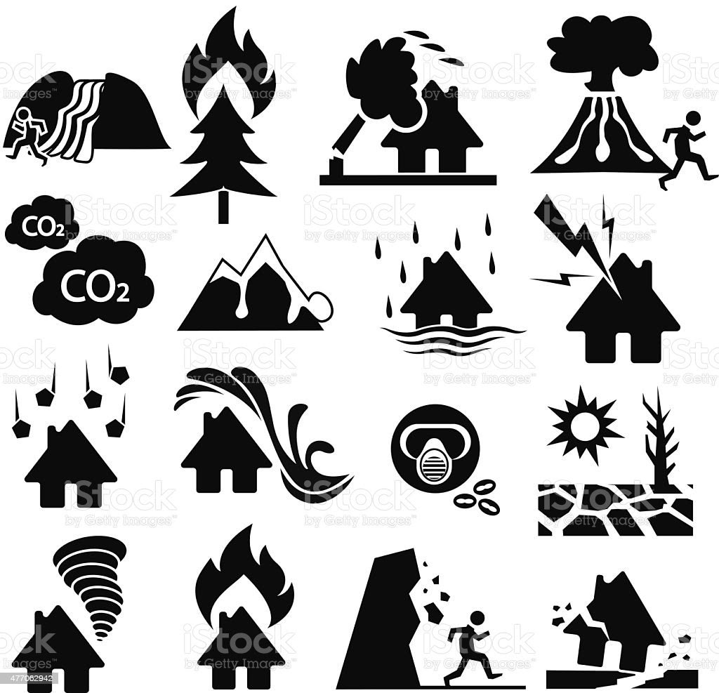 Natural Disaster Icon Set stock vector art 477062942  iStock