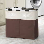 Whitmor Easycare Java Double Hamper, Beige/Tan