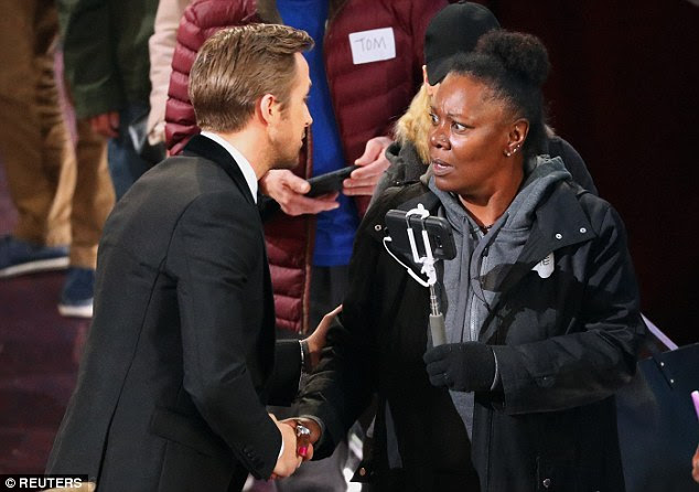 Vickie clutched her selfie stick but clearly couldn't quite grasp what exactly was happening as she met Ryan Gosling