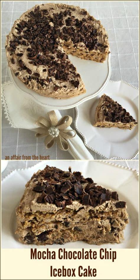 mocha chocolate chip icebox cake  affair   heart