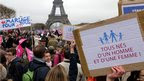 Demonstrators take part in a march in Paris to protest France's planned legalisation of same sex marriage.