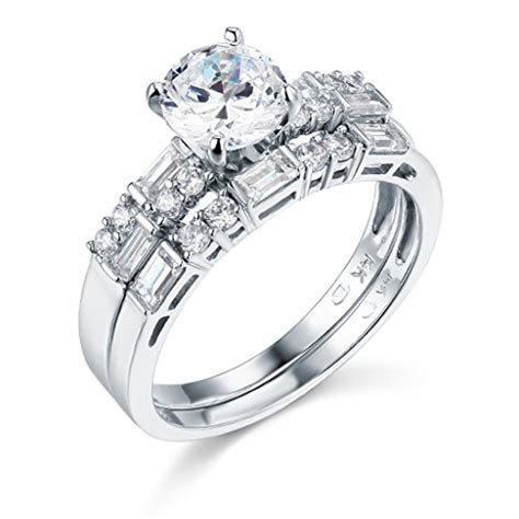 Size 5 ? 14k White Gold SOLID Engagement Ring and Wedding