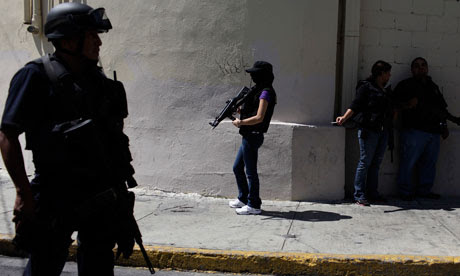 Police on the streets of Monterrey, Mexico