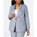 CALVIN KLEIN Womens Blue Blazer Wear To Work Jacket