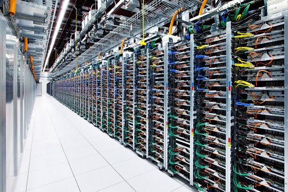 PRECAUTIONS  A room of server racks at Google's Oklahoma unit.