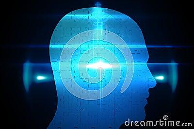 Blue jigsaw head with glowing light