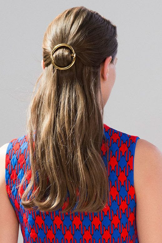 Le Fashion Blog 15 Ways To Wear Round Circle Hair Clip Pin Accessory Hairstyle Half Up Do Bright Print Dress Celine SS15 Via Popsugar