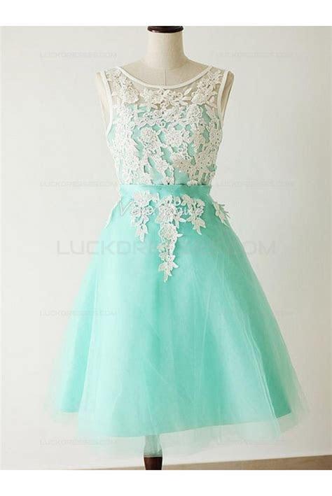 A Line Short Blue White Lace Wedding Party Dresses