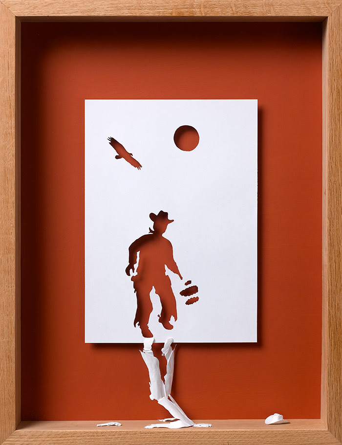 15 not as fast as his shadow ii 11 25 Striking Framed Papercuts by Peter Callesen