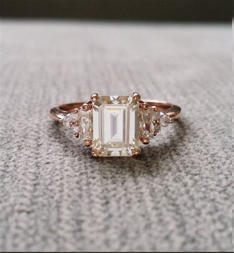 Antique Moissanite and Diamond Engagement Ring Emerald Cut