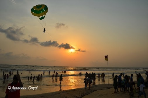 Landing time for the Parasailing enthusiasts as the Sunset approaches at Colva Beach, Goa. Places to...