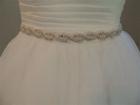 Crystal Sash, Wedding Dress Belt. Rhinestones, Beaded