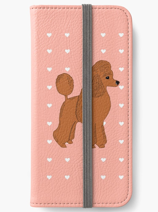 'Red Apricot Poodle with Peach Pink & Hearts' iPhone Wallet by Abigail Davidson