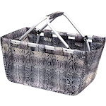 Zodaca Wireframe Utility Metal Aluminum Frame Market Tote Carry Basket for Grocery Shopping - Gray Snake Print