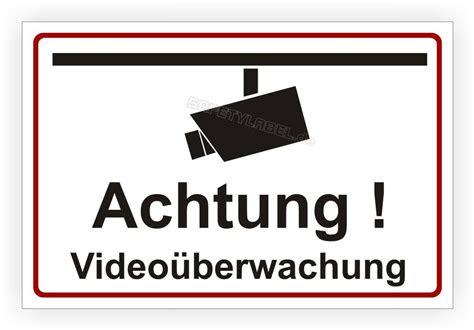 schild aufkleber warnschild hinweisschild videoueberwachung
