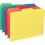 Business Source - File folder - Letter - tabbed - bright colors, assorted (pack of 100)