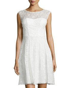 White Sleeveless Floral Lace & Bow Flare Dress, Ivory by