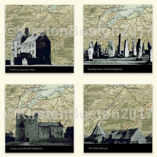 Outlander, Old Map Silhouette Outlander 4-Square Collection, Castle Leoch, Giclée, Print, Map, Silhouette, Vintage, Poster, Map Print, Gift