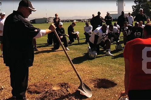 Oakland Raiders Interim Coach Tony Sporano Buries Football at Practice