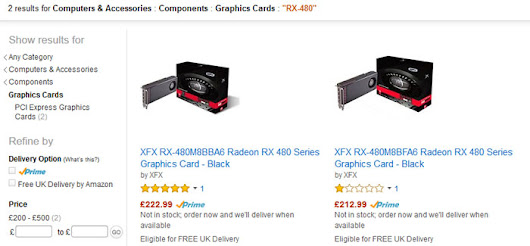 XFX RX 480 Radeon graphics cards listed on Amazon UK - Graphics - News - HEXUS.net