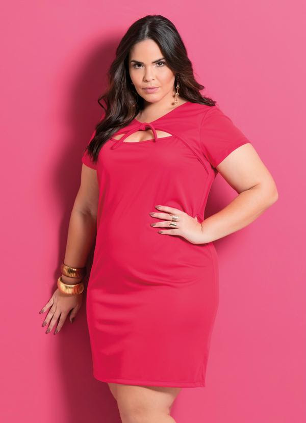 Vestido (Vermelho) com Amarração Plus Size