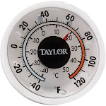 Taylor 5380N Mini Stick-on Thermometer - For Window or Wall - Indoor/Outdoor