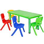Best Choice Products Play Table Set with 4 Chairs, Multicolor